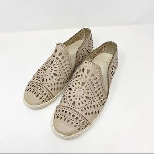 Aerin Liza Cutout Taupe Leather Slip Ons 9